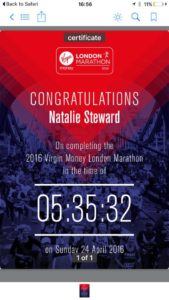 Natalie Steward London Marathon 2016 Remote Personal Training Ireland Fitness Sucess Achieve Sports Massage Thai Boxing Combat Conditioning Maidstone Dartford inov8 L